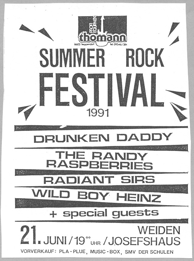 Flyer Summer Rock Festival 1991